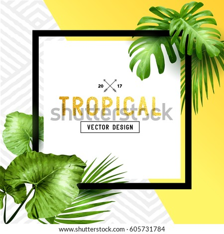 Exotic tropical summer frame with palm leaves and patterned background. Vector illustration