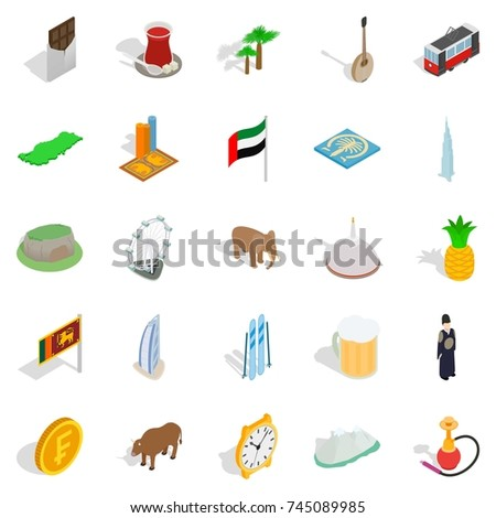 exotic vacation spot icons set