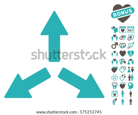 Expand Arrows icon with bonus dating design elements. Vector illustration style is flat rounded iconic grey and cyan symbols on white background.