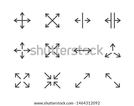Expand Arrows Minimal Line Icon. Vector Illustration Flat style. Included Icons as Diagonal Increase, Fullscreen, Navigation. Editable Stroke. 48x48 Pixel Perfect Photo stock ©