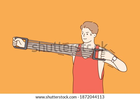 Expander in sport and training concept. Sportsman athlete cartoon character stretching expander and doing exercise workout with expander during sports program vector illustration  ストックフォト ©