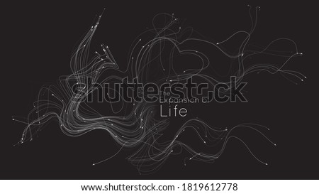 Expansion of life. Vector neuron growth. Small particles strive out of center randomly. Organic growth of tentacles. Space colonization. Burst, explosion backdrop. Foto d'archivio ©
