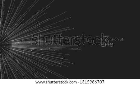 Expansion of life. Vector sphere explosion background. Small particles strive out of center. Blurred debrises into rays or lines under high speed of motion. Burst, explosion backdrop Foto d'archivio ©