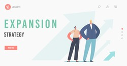 Expansion Strategy Landing Page Template. Successful Business Leaders Characters Grow, Financial Success, Career Growth. People Stand at Rising Arrows, Move to Success. Cartoon Vector Illustration