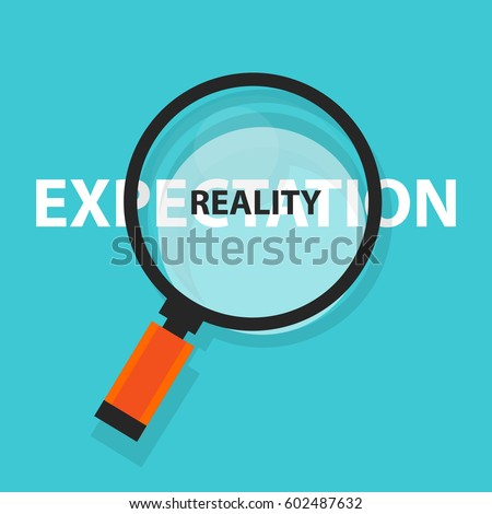 expectation vs reality concept business analysis magnifying glass symbol Stock foto ©