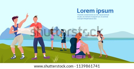 expedition group hold map camping activities trying find way landscape forest mountain river outdoor nature background man woman cartoon character flat horizontal copy space vector illustration