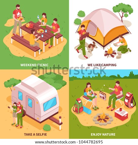 Expedition 4 isometric icons square concept with camping tent caravan picnic in meadow selfie isolated vector illustration