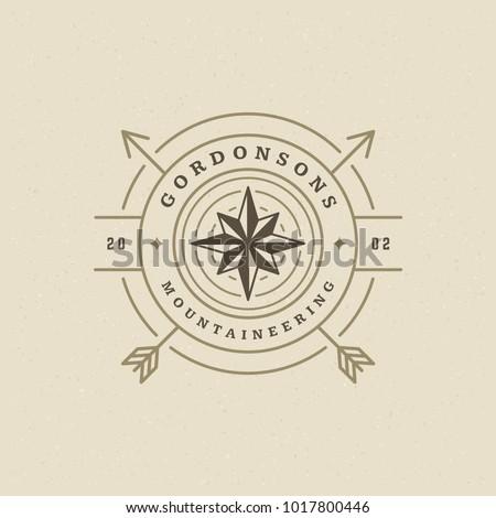 Expedition logo emblem vector illustration. Outdoor adventure leisure, compass silhouette shirt, print stamp. Vintage typography badge design.