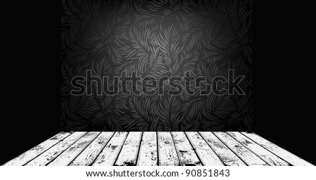 Expensive interior with floral seamless and grunge wooden plank