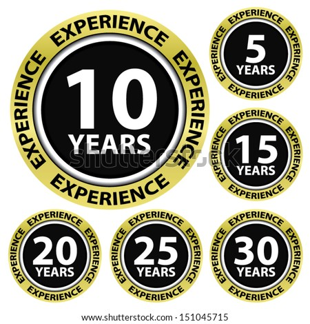 Experience 5,10,15,20,25,30 golden border and black label with circle, vector illustration