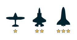 Experience level classification, grade category icons. Airplane, aircraft silhouettes. Job, work, education skills levels. Basic, medium advanced, expert symbols. Flat vector illustration