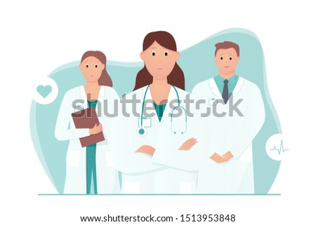 Experienced doctor with and nurse and intern. Medical care or urgent care concept. Friendly and caring doctors meet the patient. Applicable for heart clinic advertisement. Cartoon vector illustration.
