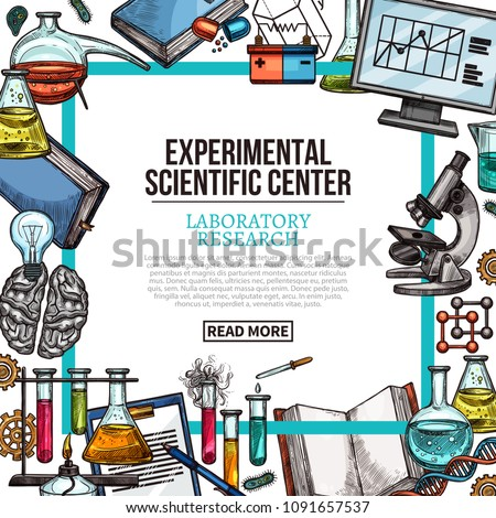 Experimental scientific center poster with laboratory equipment and lab glass frame. Chemical test tube, flask and beaker, book, scientific experiment tool and computer sketch for web banner design