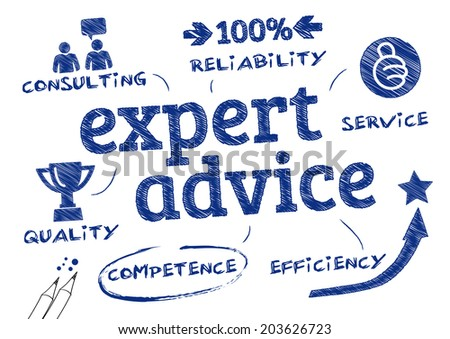 Expert advice. Chart with icons and Keywords