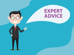 expert advice with business man standing and text banner bubble speech vector illustration