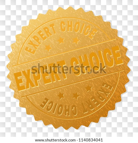 EXPERT CHOICE gold stamp reward. Vector golden award of EXPERT CHOICE text. Text labels are placed between parallel lines and on circle. Golden area has metallic effect.