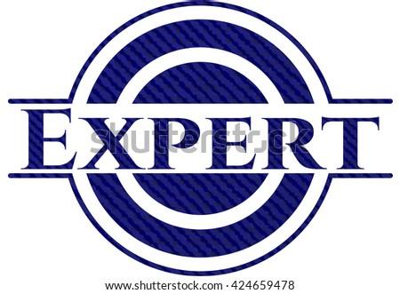 Expert emblem with denim texture