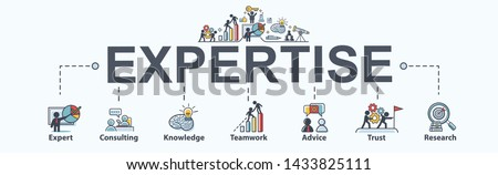 Expertise banner web icon for business, expert, consulting, knowledge, teamwork, advice, trust and research. Minimal vector infographic.