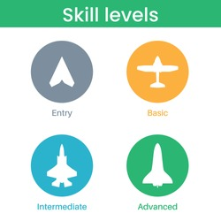 Expertise, evolution, skill or experience level icons. Airplane, aircraft silhouettes. Job skills levels. Path to the success or goal. Basic, medium advanced, expert symbols. Flat vector illustration