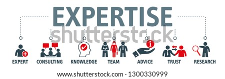 "Expertise - icon set with the words ""expert, consulting, knowledge, team, advice, trust and research"" - vector illustration concept"