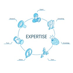 Expertise isometric concept. Connected line 3d icons. Integrated circle infographic design system. Expert service, consulting, research, team advise symbols. Knowledge, trust, advice pictogram