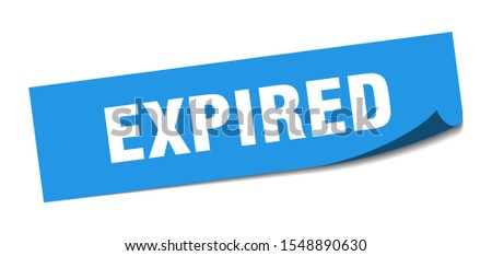 expired blue sticker sign. expired square isolated peeler