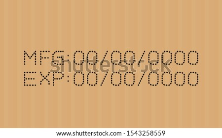 expired date type on corrugated cardboard brown, expire font on carton box, expiration type detail stamp numbers for best before, number expired of product quality, packaging information use by