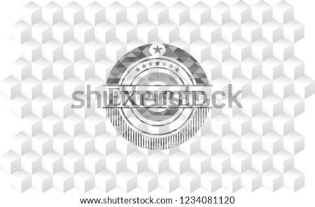 Expired grey badge with geometric cube white background