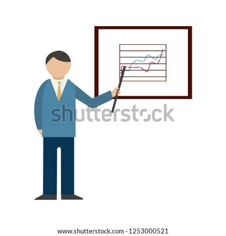 explain company plan icon - Presentation billboard sign icon. Scheme and Diagram symbol. Vector Graphic element.