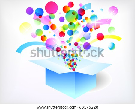Exploded holiday box - stock vector