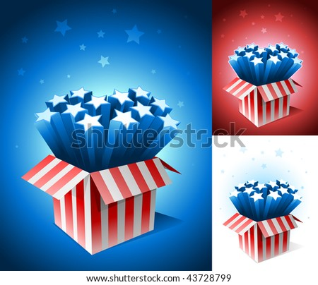 Exploding American star box. All elements are layered and grouped in vector file.