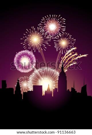 exploding fireworks above a big