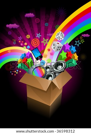 Exploding gift box on black. All elements are layered separately in vector file. - stock vector