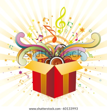exploding gift box with music elements