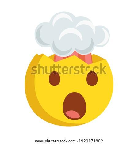 Exploding Head Emoji Icon Illustration. Mind Blown Face Symbol Emoticon Design Doodle. Foto d'archivio ©
