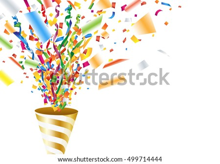 Exploding party popper with confetti and streamer #499714444