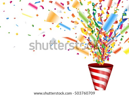 Exploding party popper with confetti and streamer #503760709