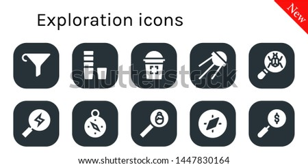 exploration icon set. 10 filled exploration icons.  Collection Of - Funnel, Glass, Sputnik, Loupe, Search, Compass