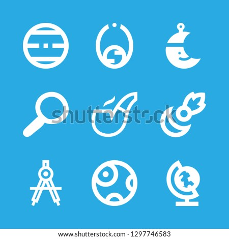 Stock Photo exploration icons set with compass, planet and moon vector set