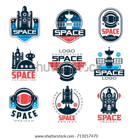 Exploration space logo set, space project vector Illustrations