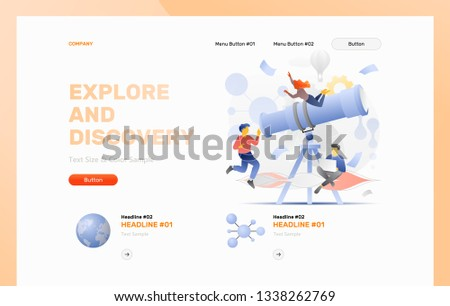 Explore and discovery web header template with a big telescope surrounded by tiny explorers. Modern flat design concept with gradients.