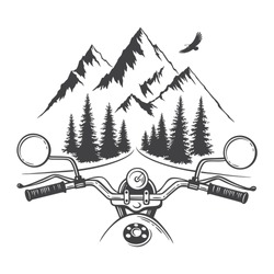 Explore graphic vector illustration of motorcycle front and mountains. Travel, outdoor, adventure symbol. Racing chopper club emblem. Hand drawn engraving style for tattoo, print, sticker design
