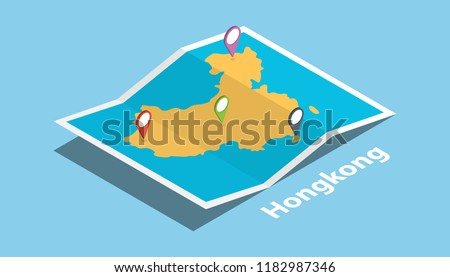 explore hongkong maps with isometric style and pin location tag on top