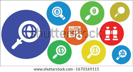 explore icon set. 9 filled explore icons. Included Search, Loupe, Magnifying glass, Binoculars icons