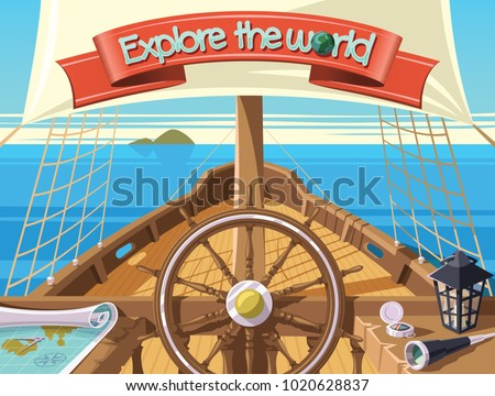 Explore the world with sailing ship