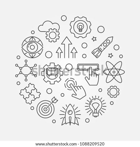 Explore vector round minimal concept illustration in thin line style