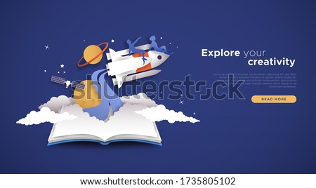 Explore your creativity landing page template. Papercut illustration of people on space rocket ship in 3D paper cut style with spaceship. Creative exploration, online skill class or business concept.