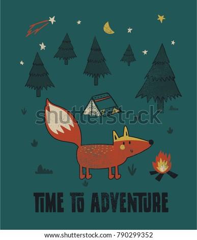 Stock Photo explorer fox illustration as vector for print