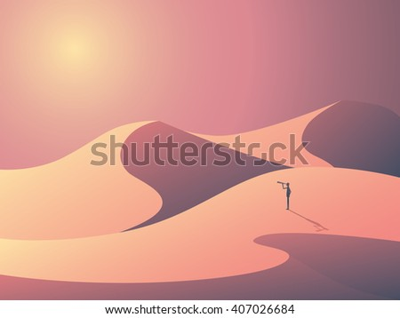 explorer in sand dunes on a