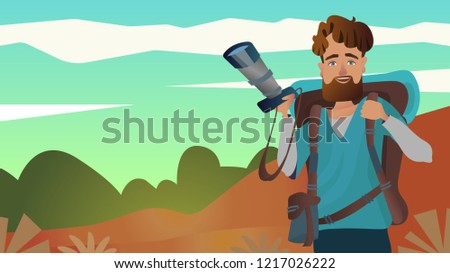Explorer male carrying backpack camera Luggage,sleeping bag  To explore adventure Survival travel,lifestyle.employee and workers jobs and professions professional concept Vector illustration cart